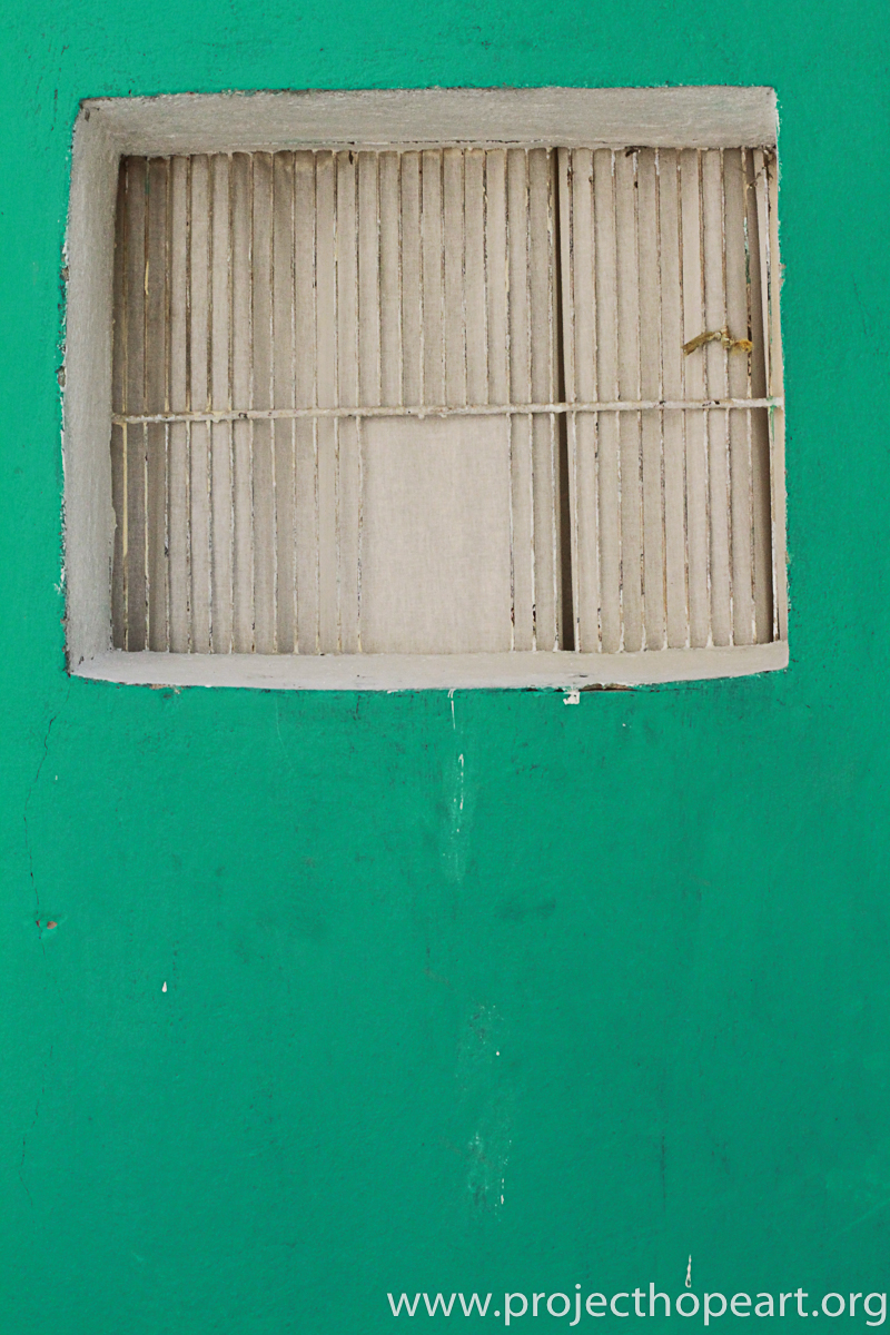 green door window
